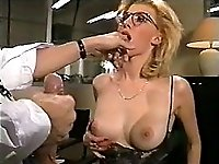 Office girl gets her pussy and ass fucked, glasses jizzed
