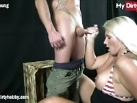 """MyDirtyHobby - Busty stepmother blows her stepson for his 18th birthday"""