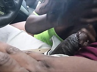 Getting a Sloppy Blowjob in the Car
